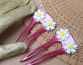 Vintage hair combs 2 white daisy hair accessory hair pin hair pick hair slide hair jewelry hair ornament headdress