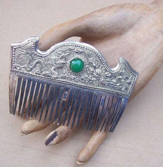 Vintage hair comb Vietnamese or Chinese silvertone metal hair accessory with dragon and faux jade cabochon