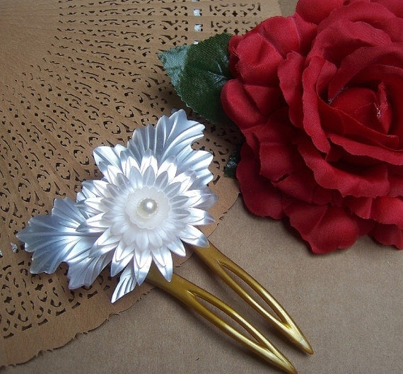 Vintage Japanese kanzashi comb hairpin geisha mother of pearl effect hair accessories