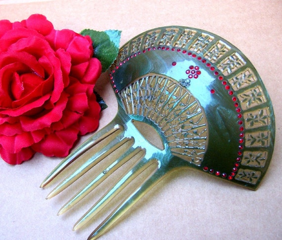 Vintage hair comb Art Deco green Spanish fan shape hair accessory