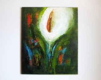 Lily abstract floral painting for living room, bedroom, sunroom, kitchen, study home office ~ Easter lily's ~ tropical garden flower, flora