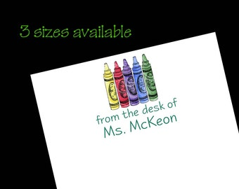 Personalized Teacher Crayon Notepad ~ Teacher Gift ~ 3 Sizes