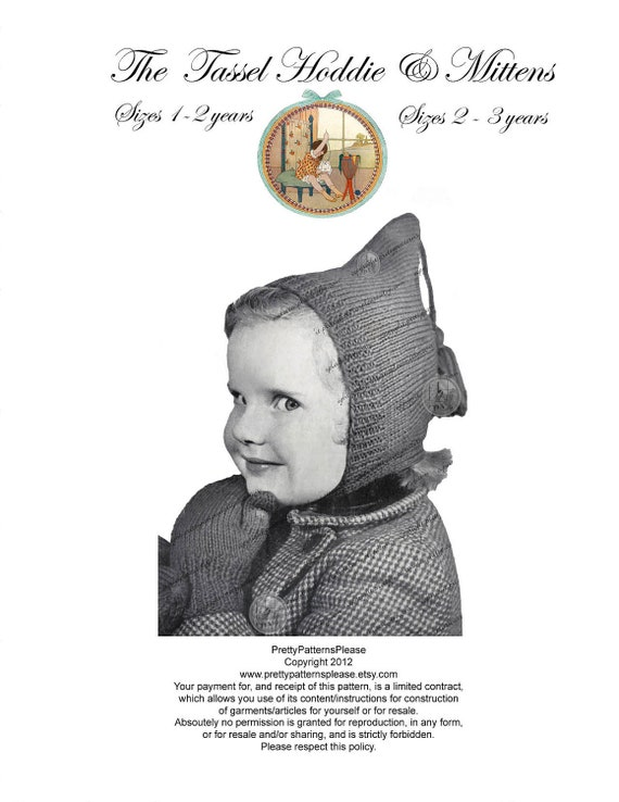 Children's Tassel Hoodie & Mittens - Vintage Knitting Pattern - PDF Instant Download - PrettyPatternsPlease
