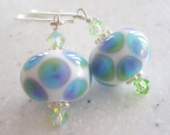 Pastel Dots Lampwork Bead and Light Green Crystal Earrings