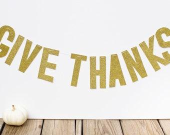 Thanksgiving Banner (Gold Glitter-Give Thanks)