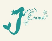 Kids mermaid decor Monogram Wall Decal personalized coastal sign lettering, beach art wall sticker