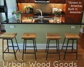 """set of 4  Reclaimed Wood and Steel industrial styled Bar Stools counter height at 25"""" tall"""