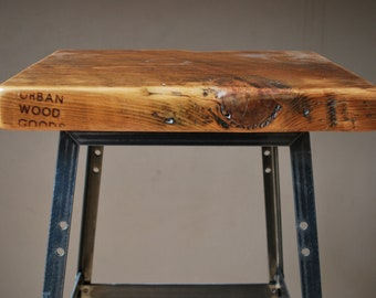"2 Reclaimed Wood and Steel Industrial Shop Stools. Made in Chicago. Qty (2) 25"" counter height - QUICK SHIPPING"