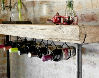 "5ft. Industrial Reclaimed Wood Console Table/ Wine bar with Pipe legs - no wine rack, w/ thick 2.5"" Top (60""L x 11.5"" w x 42""h)"