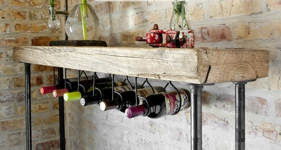 5ft Industrial Reclaimed Wood Console Table Wine bar with