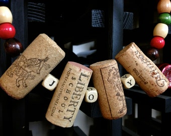 CHEERS - JOY -  Home Decor - Wine Cork Rings Made with Grape Vine Beads- Ready to Ship