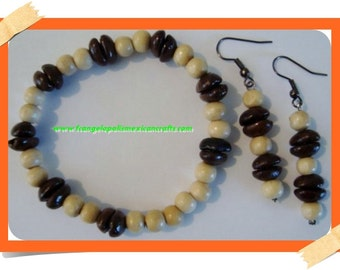 COFFEE LOVER Earrings & Bracelet Set Handmade of Real Coffee Bean