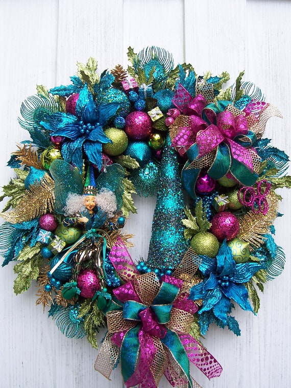 christmas wreath with fairy turquoise lime green and. Black Bedroom Furniture Sets. Home Design Ideas