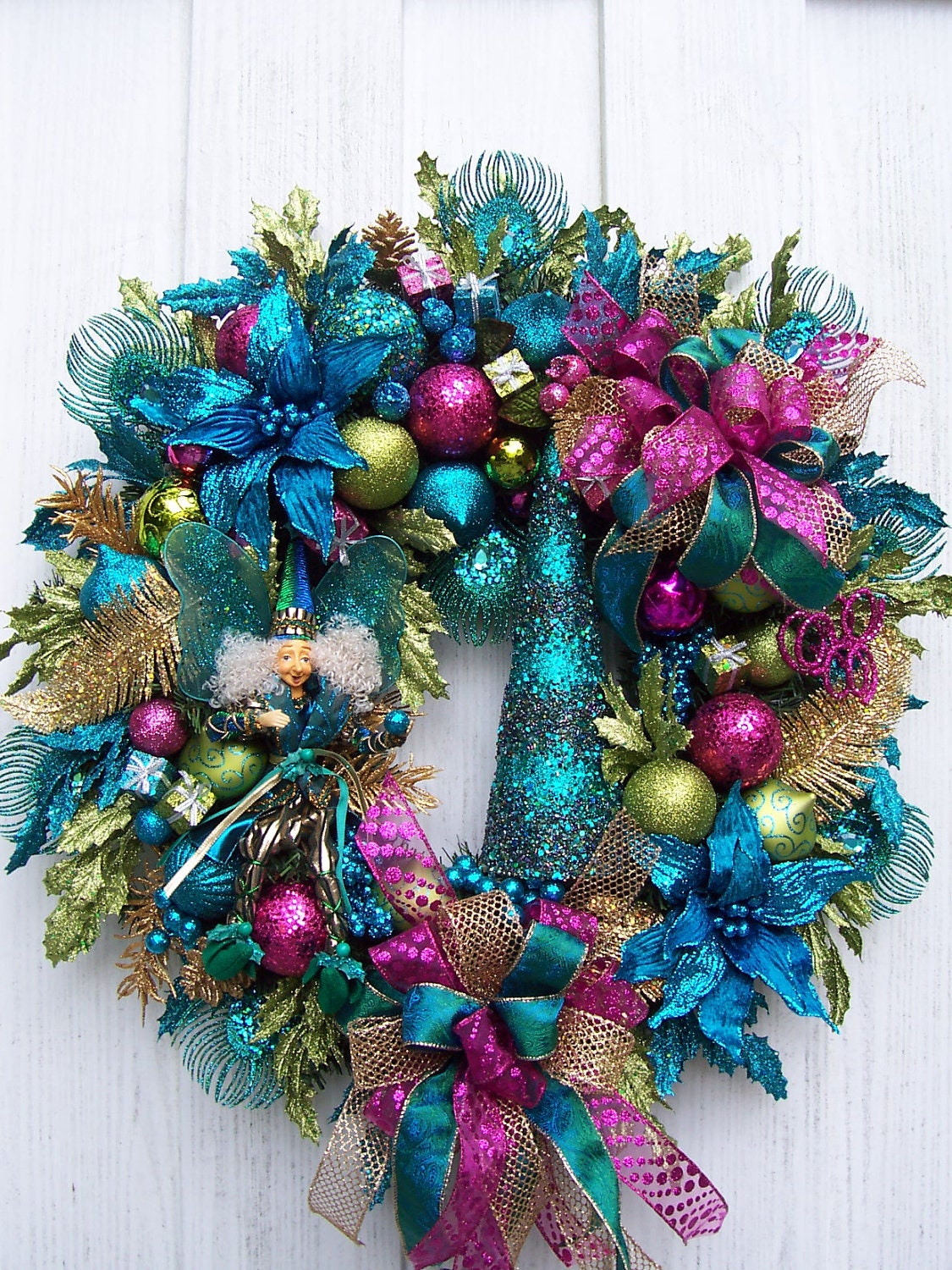 Christmas wreath with fairy turquoise lime green and