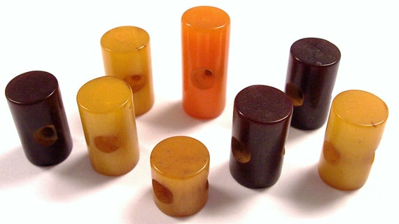 VINTAGE Toggle Buttons BAKELITE Butterscotch Amber Brown Tested Bakelite Cylinder Toggle Buttons Bakelite Vintage Button DeStaSh (L55)