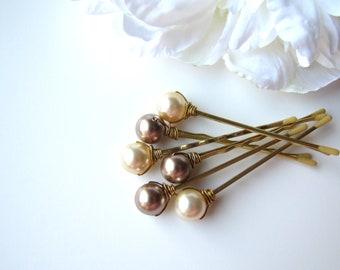 Neutral Pearl Hair Pins, 10mm Swarovski, Bronze and Light Gold