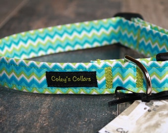"Green Blue and White Dog Collar ""The Blake"" Chevron Dog Collar"
