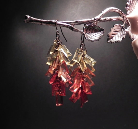 Fall Dangle Earrings Yellow & Orange Vintage / VJSE Group Team / Free Shipping in USA