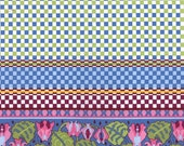 Periwinkle and Raspberry Border Print from the Ladies Stitching Club Collection, by Moda, 1 yard