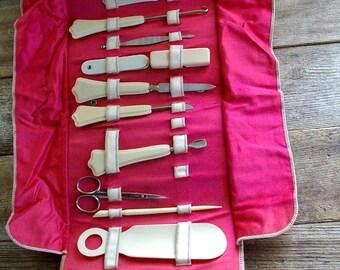 FOLDING MANICURE SET, Art Deco Vanity, Celluloid Vanity Manicure Set 1920s 1930s Button Hook Shoe Horn Emery Fan Buffer 12 pc set Very Clean