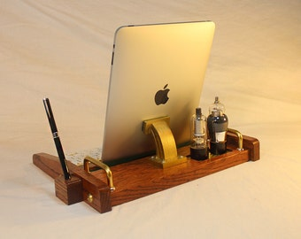 iPad Workstation - Keyboard - Tablet  Dock  - Tube Model Steampunk - Oak -  With Pen Stylist - Desktop Workstation
