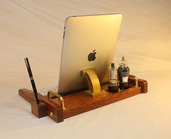 iPad Workstation - Keyboard - Tablet  Dock  - Tube Model Steampunk - Oak -  With Pen Stylist - Desktop Workstation