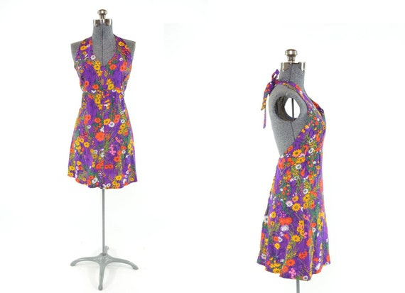 60s Purple Floral Halter Top Sexy Mini Summer Festival Dress SZ S