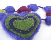 Necklace children  - heart, felt