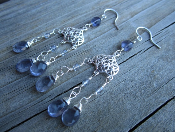 Sterling Silver And Iolite Chandelier Earrings