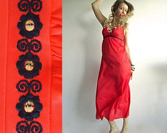LITTLE FLAMING HEART Vtg Maxi Boho Hippie Slip Dress in Poppy Red with Black Flower Trim for Free Spirited Species Size S