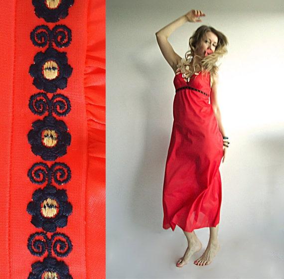 LITTLE FLAMING HEART Vtg Maxi Boho Hippie Slip Dress in Poppy Red with Black Flower Trim for Free Spirited Species Size S