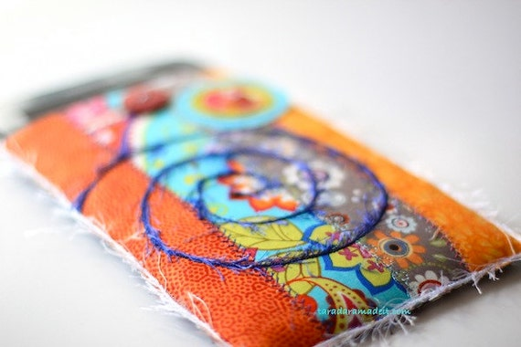 Kindle, Kindle Fire or Nook Cover - Orange and Teal