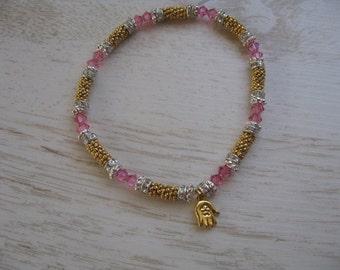 Hamsa Charm Bracelet, Gold Bracelet, Pink Crystal Bracelet, Elegant Bracelet,  Hamsa Stretch Bracelet with Pink Crystals Gold Elements