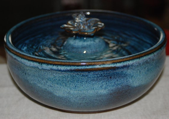 "Handmade, Food-safe, Ceramic Cat Fountain, ""Midnight  Daisy"""