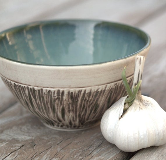 Small Rustic Porcelain Bowl in Ivory and Soft Teal