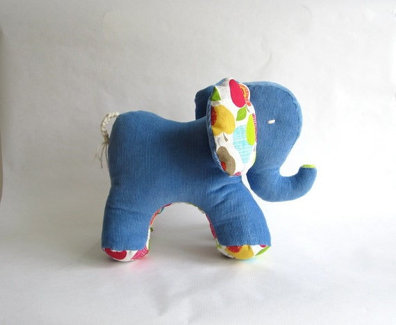 Elephant, organic, blue, white, soft, stuffed with wool, made of corduroy, suitable for baby and child
