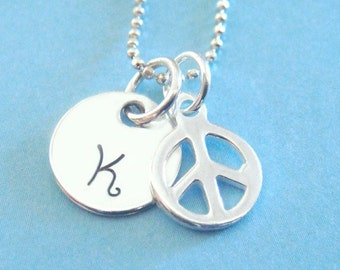 Hand Stamped Jewelry - Peace Sign Necklace - Sterling Silver