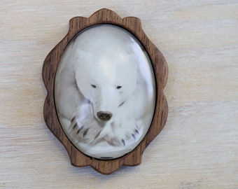 Polar Bear brooch, Bear Jewelry, Wood Brooch, Black and white photography, Animal Jewelry, Wildlife pin, Polar bear art, Nature Jewelry