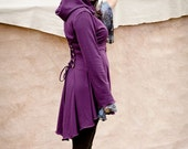Purple Fairy pixie corset laced hoodie  steampunk hoody modern red riding hood