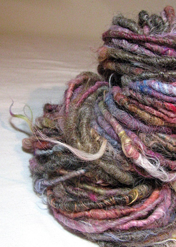 Handspun Art Yarn Uncarded Suri Alpaca and Uncarded Natural Lincoln Longwool 'Hide in Plain Sight'
