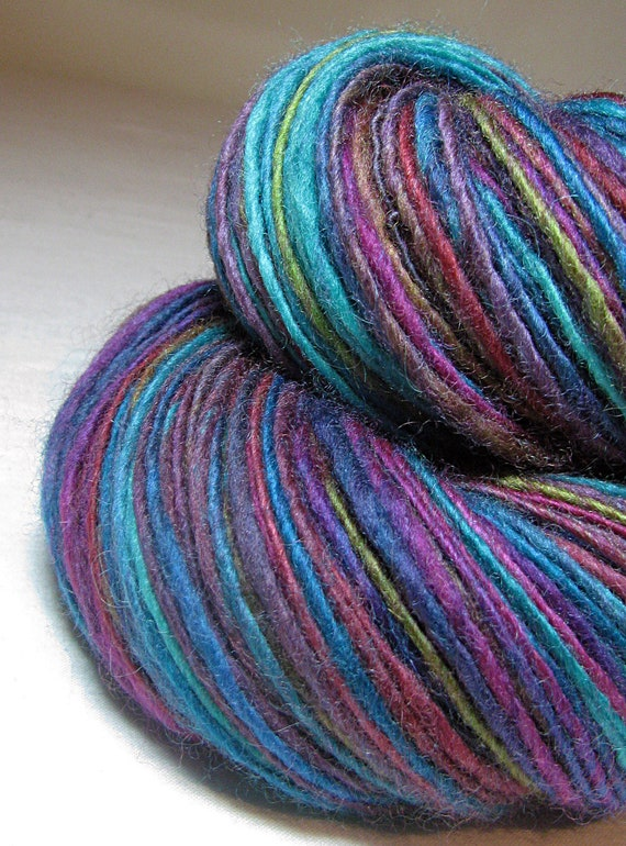 Handspun Yarn Gently Thick and Thin Single DK Blue Faced Leicester  'Springtime'