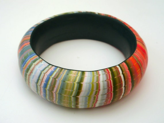 Unique Stripy Classy Polymer Clay bangle in Pale Colours Perfect Present under 55 USD