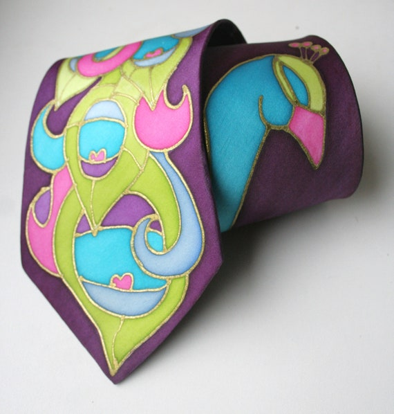 Peacock Necktie. Turquoise and Purple.Hand Painted Silk Necktie. Peacock Wedding. MADE TO ORDER