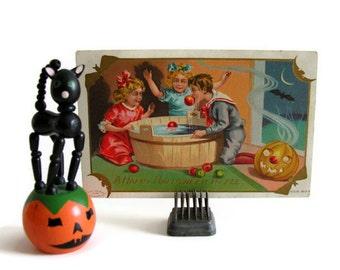 Antique Halloween Postcard Apple Bobbing Post Card Happy Hallowe'en to All
