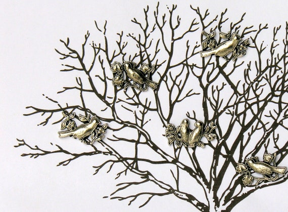 Vintage Metal Bird Pushpins 6 Pewter Colored Songbirds Thumbtacks  Instant Collection