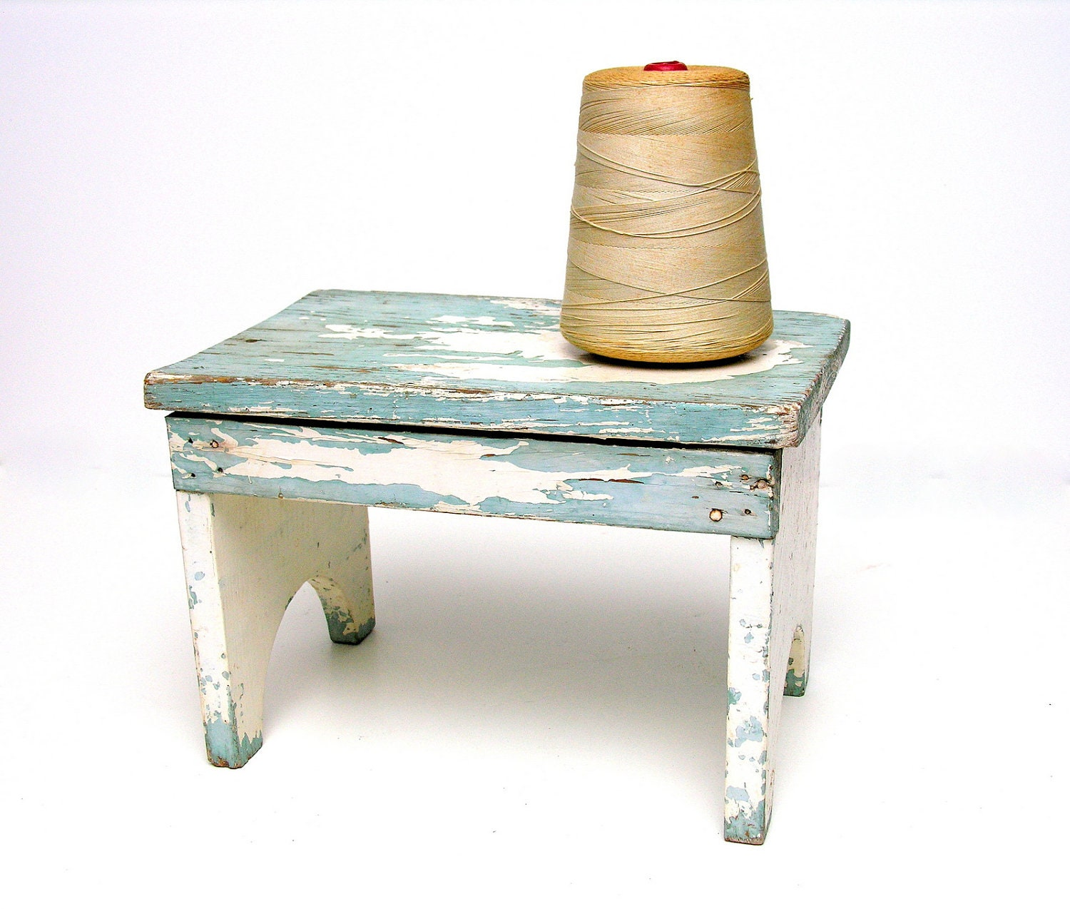 Antique rustic step stool riser wooden bench small primitive