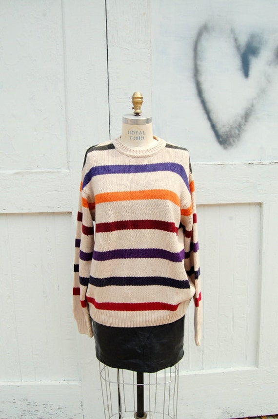 Fall stripes unisex slouchy sweater 1990s
