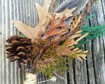 Rustic Boutonierre - Natural RealTree Mossy Oak Camo Inspired for Autumn, Rustic, Fall, Winter, Hunter Wedding