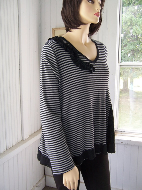 Reconstructed Long Sleeved Tunic Shirt Sweater Charcoal Gray and Black Stripe Upcycled Plus Size