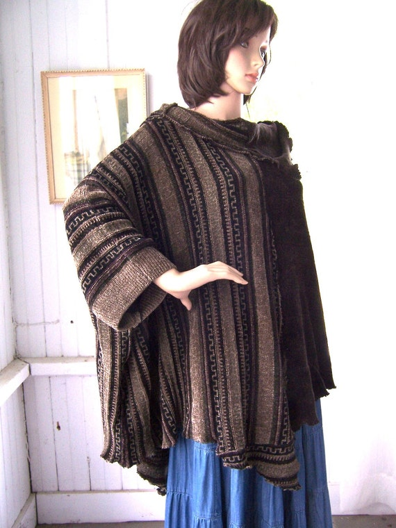 Reserved For Janet Reconstructed Sweater Poncho Large Cowl Neck Earth Tones Soft Knit Chenille  One Size